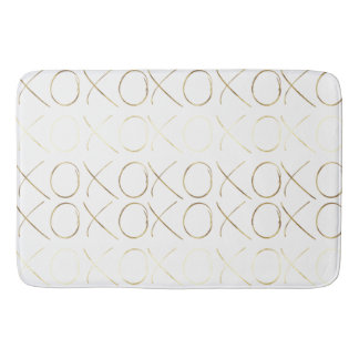 Gold White Girly Glam XOXO Bath Mat