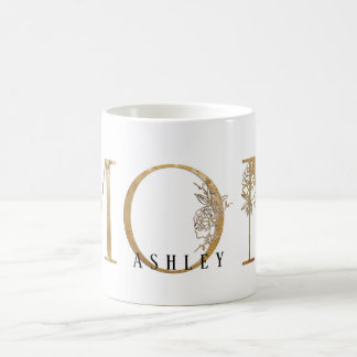 Gold & White Gold Foil ApothecaryType Mom Name Coffee Mug