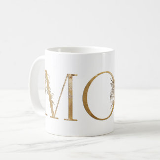 Gold & White Gold Foil Botanical Typography Mom Coffee Mug