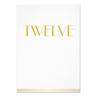Gold White Great Gatsby Wedding Table Cards Twelve