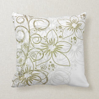 Gold & White Intricate Floral Vine Accent Pillows