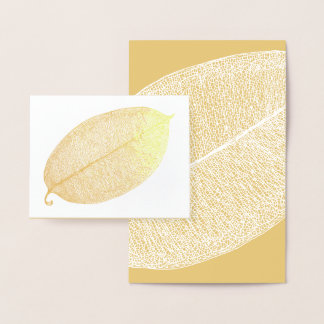 Gold White Leaf Grid Illustration Foil Card