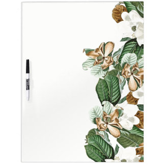 Gold White Magnolia Flowers Dry Erase Board