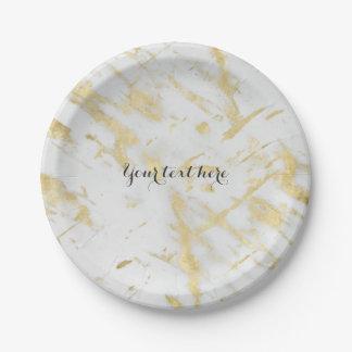 Gold & White Marble Glam Elegant Designer Style Paper Plate