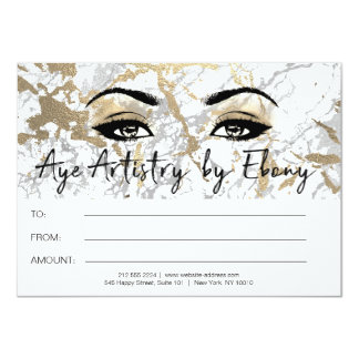 Gold White Marble Makeup Beauty Certificate Ebony1 Card