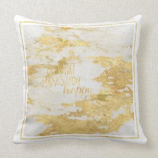 Gold White Marble Sparkle Cushion