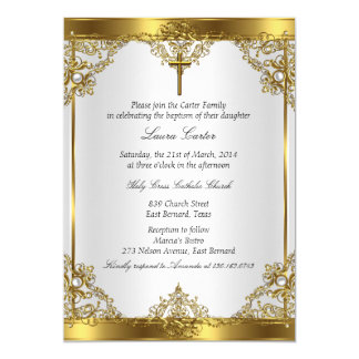 Gold White Pearl Cross Baptism Christening 2 Card
