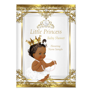 Gold White Pearl Princess Baby Shower Ethnic 13 Cm X 18 Cm Invitation Card