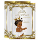 Gold White Pearl Princess Baby Shower Ethnic Card