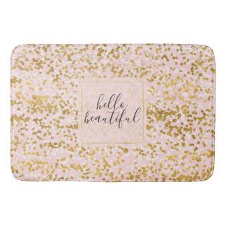 Gold White Pink Confetti Bath Mat
