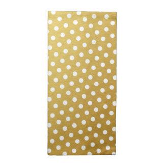 Gold & White Polka Dot Pattern Cloth Napkins