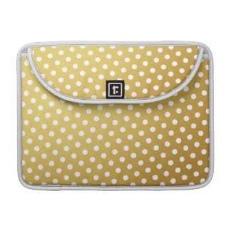 Gold & White Polka Dot Pattern Macbook Pro Sleeve