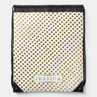 Gold & White Polkadot Pattern Drawstring Bag