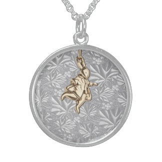 Gold White Rabbit on Silver Sterling Silver Necklace