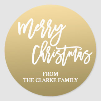 Gold White Script Merry Christmas Holiday Sticker