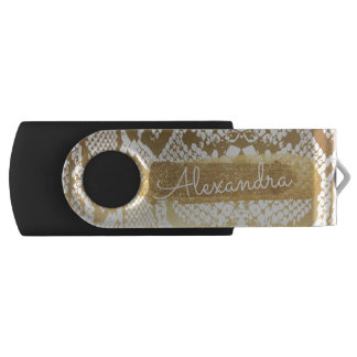 Gold & White Snake Skin Print with Gold Glitter USB Flash Drive