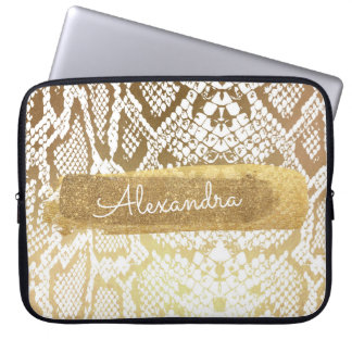 Gold & White Snake Skin with Gold Glitter Laptop Sleeve