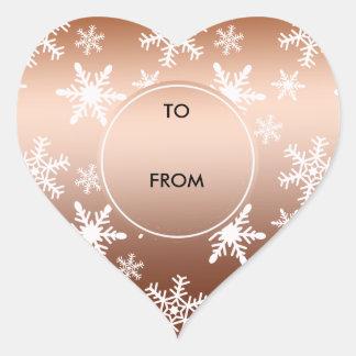 Gold White Snowflakes Christmas Stickers