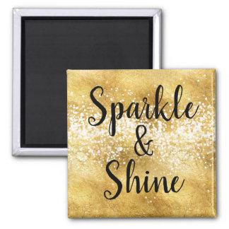 Gold White Sparkle Shine Magnet
