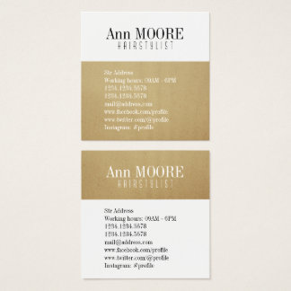 Gold white split stylish cover square business card