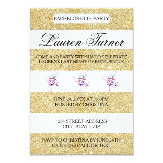 Gold & White Stripes - 3x5 Bachelorette Invitation
