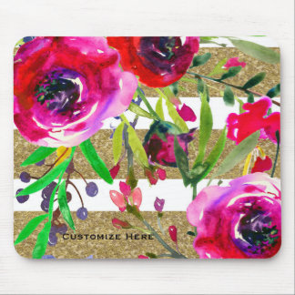 Gold White Stripes Bold Glam Floral Botanical Mouse Pad