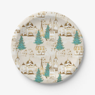 Gold & White Winter Village Paper Plate