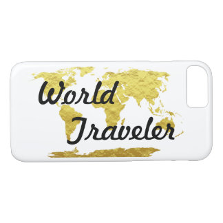 Gold & White World Map World Traveler iPhone 8/7 Case