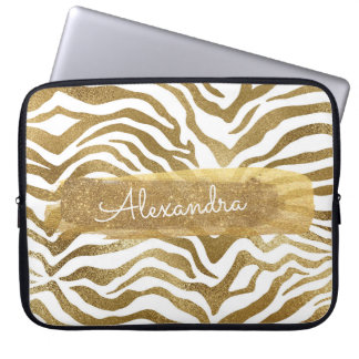 Gold & White Zebra Animal Print with Gold Glitter Laptop Sleeve