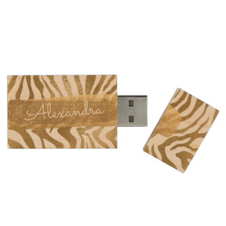 Gold & White Zebra Animal Print with Gold Glitter Wood USB Flash Drive
