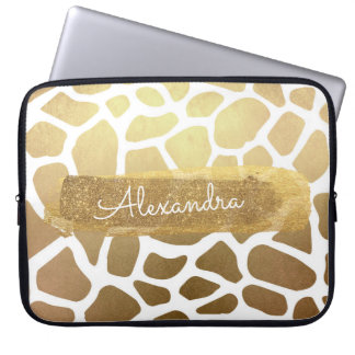 Gold & White Zebra Print with Gold Glitter Laptop Sleeve