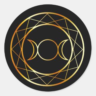 Gold Wiccan symbol Triple Goddess Classic Round Sticker