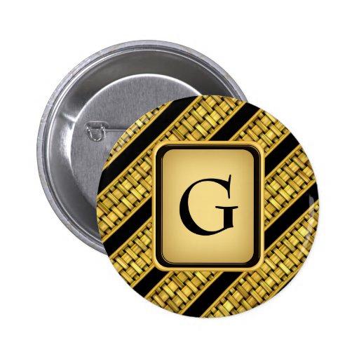 Gold Wicker Stripes Button