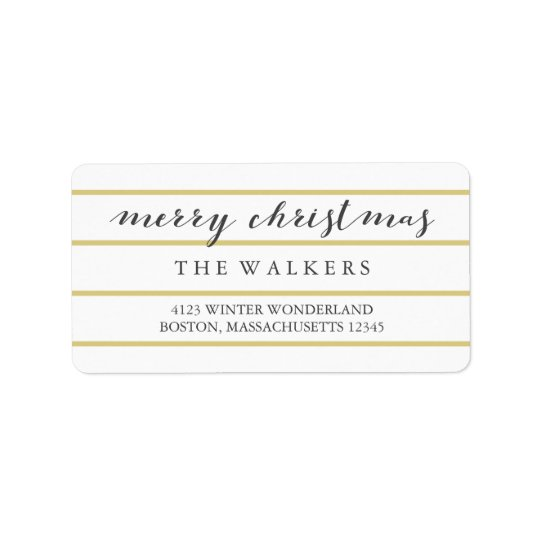 Gold Wide Pinstripes Script Merry Christmas Address Label