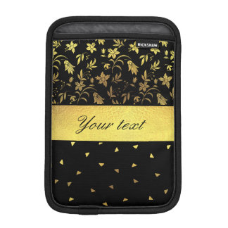 Gold Wildflowers and Scattered Triangles iPad Mini Sleeves