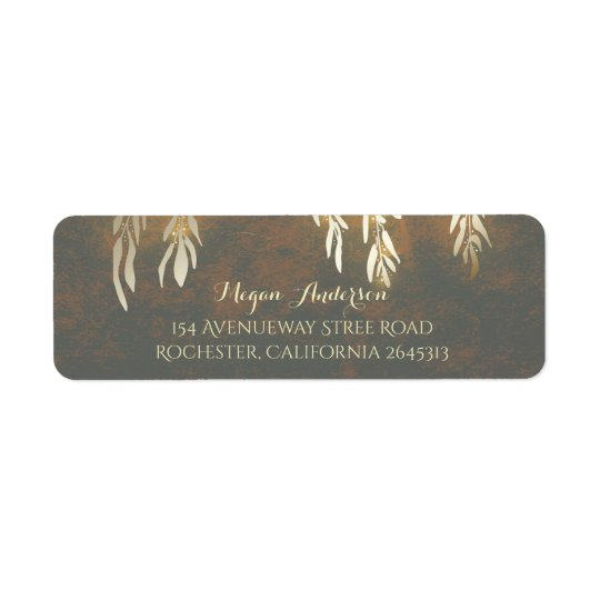 Gold Willow Tree Branches Wedding Return Address Label