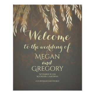 Gold Willow Tree Vintage Wedding Welcome Sign Poster
