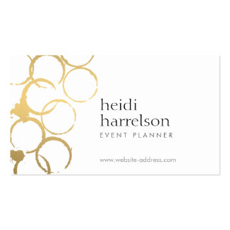 Gold Wine Stains Party Planner Business Card