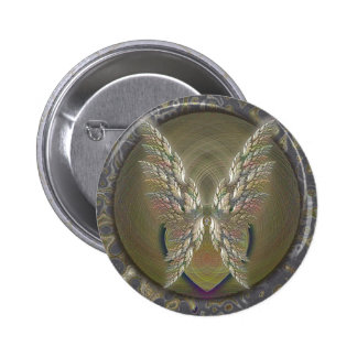 Gold Winged Heart 6 Cm Round Badge