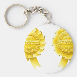Gold winner rosettes key chains