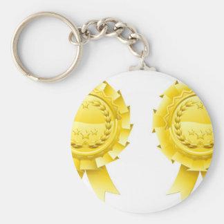 Gold winners laurel rosettes keychain