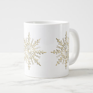 Gold Winter Snowflakes on White Large Coffee Mug