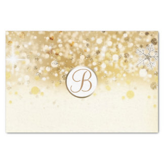 Gold Winter Sparkle Lights Monogram Letter Initial Tissue Paper