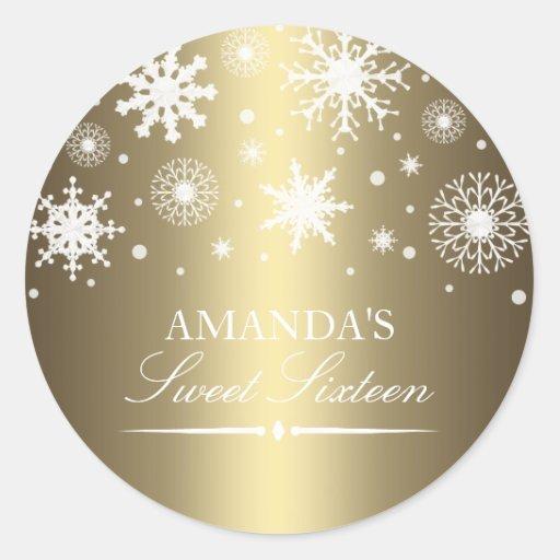 Gold Winter Wonderland Sweet 16 Sticker