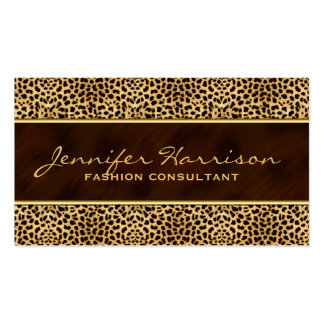 Gold with Cheetah Animal Print Pack Of Standard Business Cards