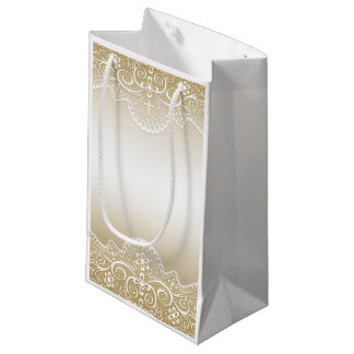 Gold with Lace, Cross, Religious Small Gift Bag