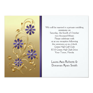 Gold with Purple Flowers Reception Only Card