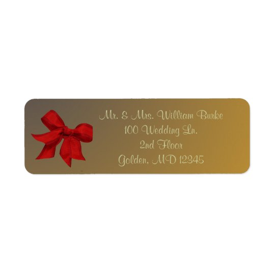 Gold with Red Bow Return Address Label
