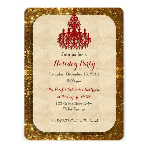 Gold with Red Chandelier Holiday Invitation