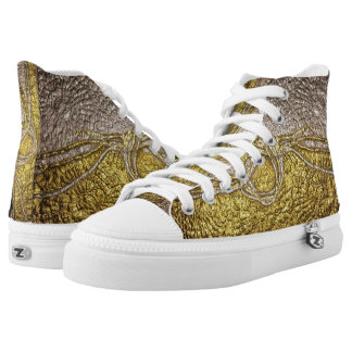 gold with silver printed shoes